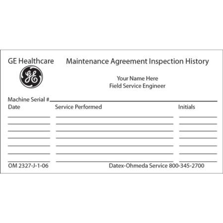 Maintenance Agreement Inspection History Card Minimum Order 100 Cards